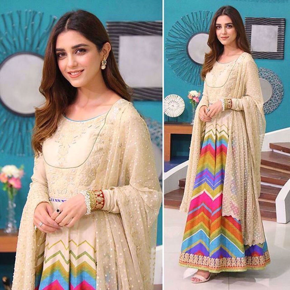 Picture of THIS ELEGANT COLORFUL PISHWAS BY NOMI ANSARI WAS WORN BY MAYA ALI IN A MORNING SHOW≡