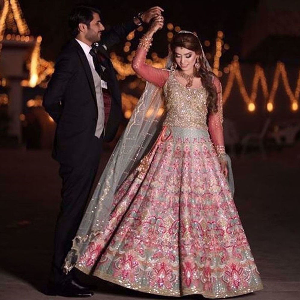 Picture of OUR CLIENT LOOKS RADIANT IN MINT FAUNA LEHNGA CHOLI