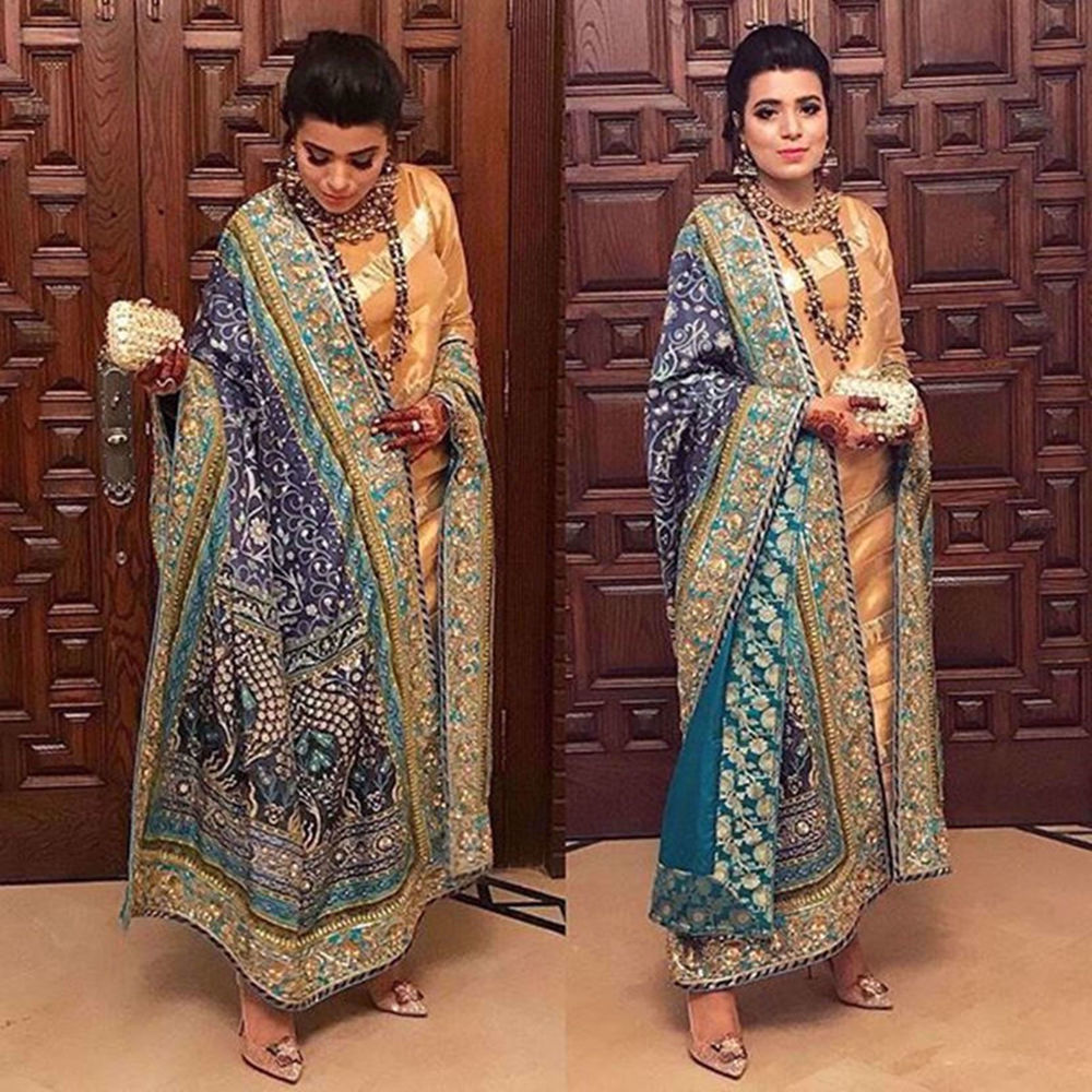 Picture of MAHAM SPOTTED IN A NOMI ANSARI EMBELLISHED PRINTED SHAWL