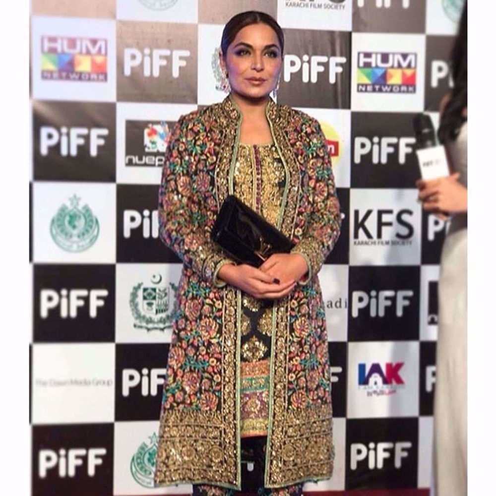 Picture of MEERA WEARING AN EMBELLISHED JACKET WITH HEAVY ZARDOZI WORK PAIRED WITH AN EMBROIDERED SHIRT AND STRAIGHT PANTS AT #PIFF2018