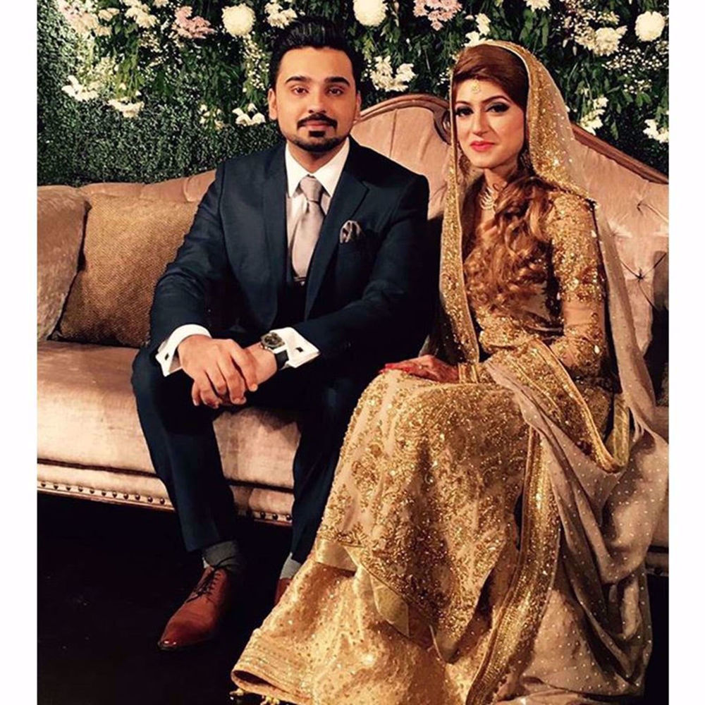 Picture of AYESHA KASHMIRI LOOKS ABSOLUTELY BEAUTIFUL IN A CUSTOM GOLD HANDCRAFTED NOMI ANSARI BRIDAL