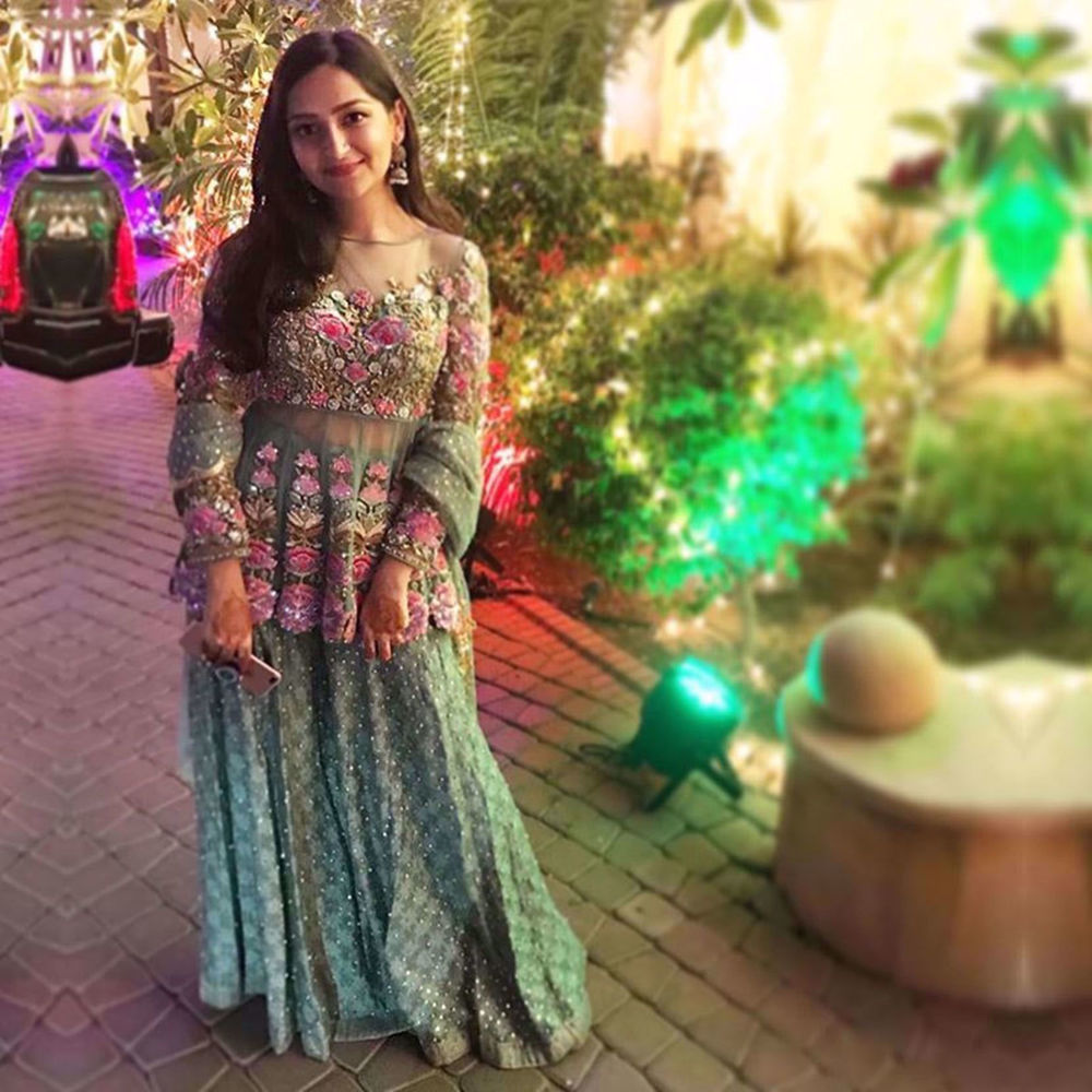 Picture of AMEENA WALI MOHAMMAD IN A MINT PEPLUM PAIRED WITH DHAKA PANTS