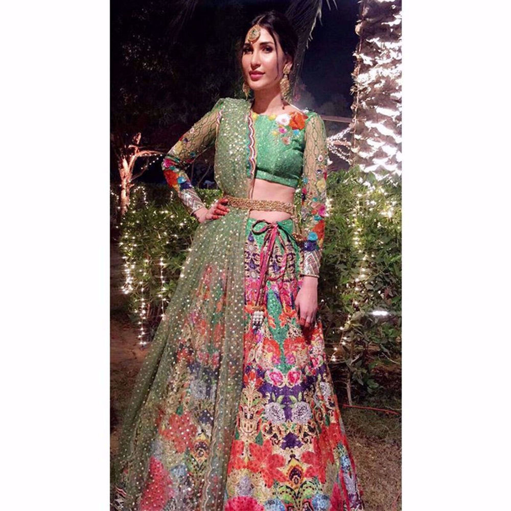 Picture of ABEER RIZVI LOOKING-BREATHTAKING IN THIS GREEN LEHNGA CHOLI