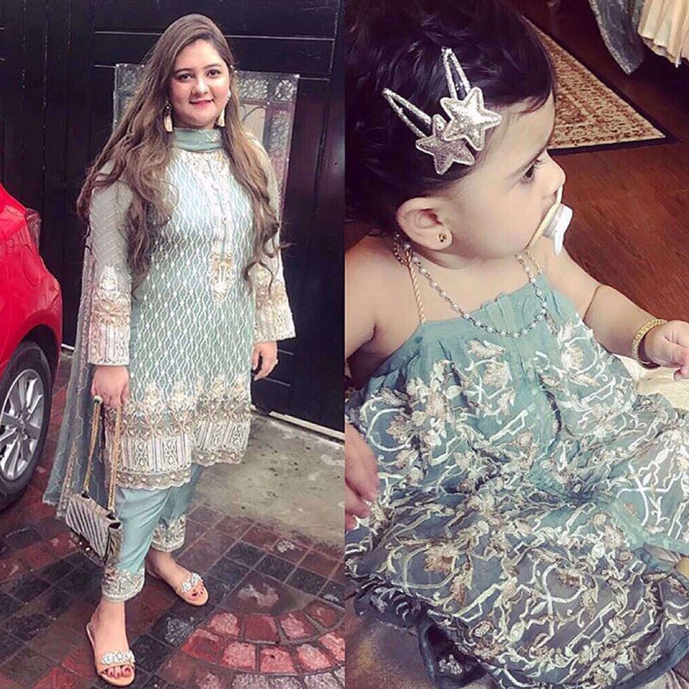 Picture of MARYAM IMRAN AND DAUGHTER IN A MINT GREEN ENSEMBLE BY NOMI ANSARI
