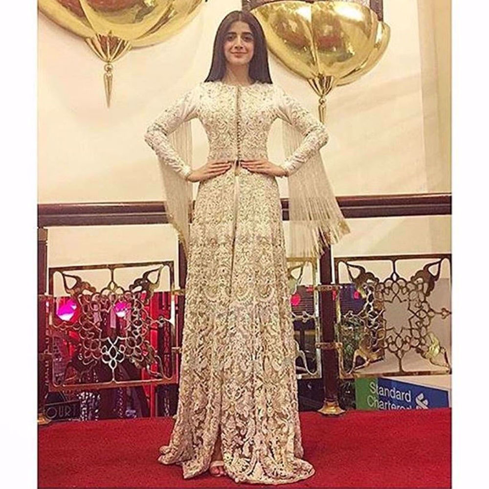 Picture of MAWRA HOCIANE IN A PRECIOUS IVORY BY NOMI ANSARI