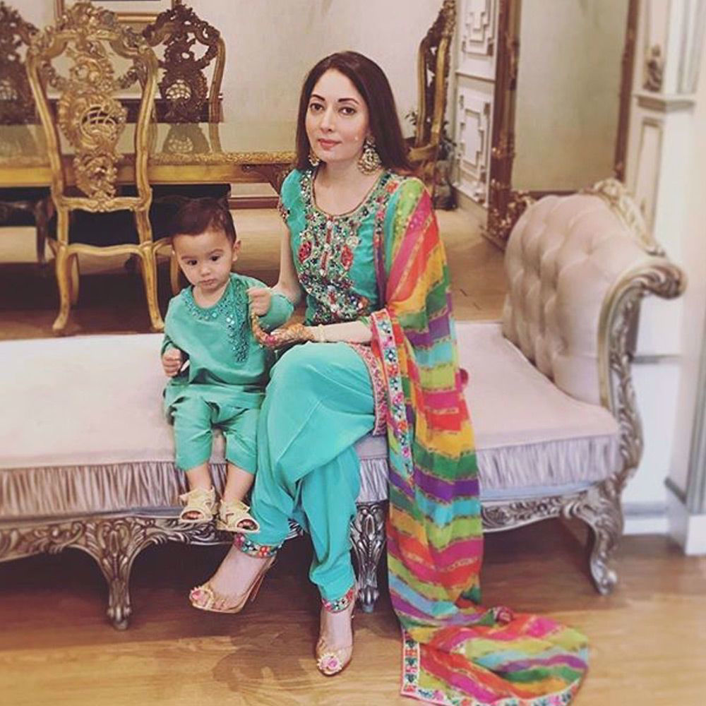 Picture of sharmilafaruqi and Hussain spotted wearing a traditional mirror worked #nomiansari outfits