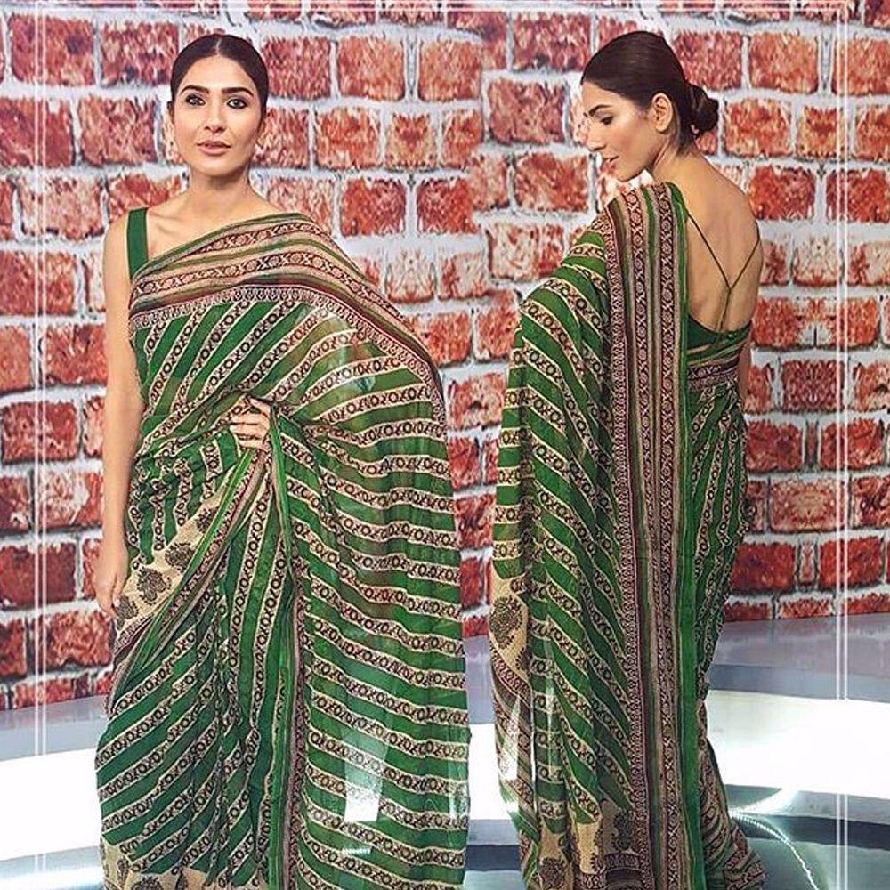 Picture of Ethereal beauty #KiranMalik looks absolutely regal in a custom green #NomiAnsari Cotton sari