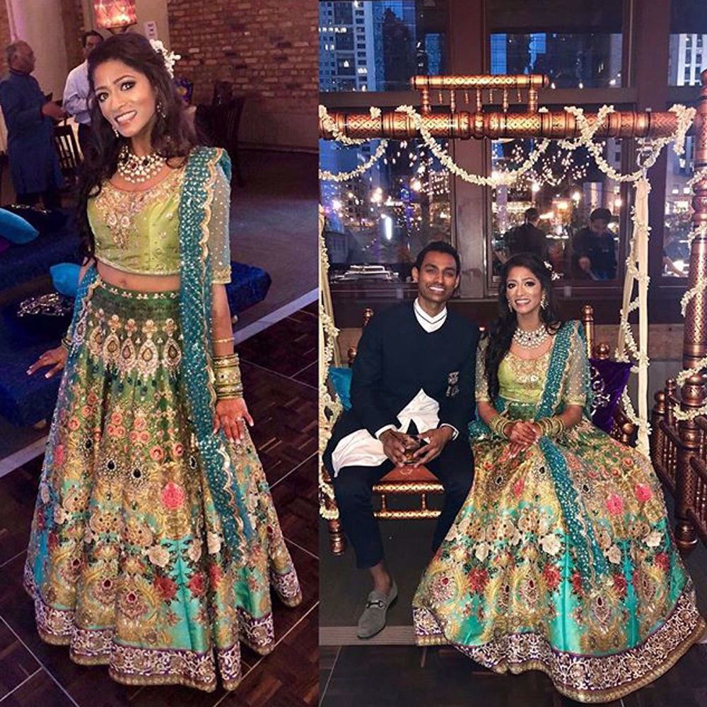 Picture of Our star clients @nandhini_marupudi is radiating grace adorned in #Nomiansari 's floral bridal couture with signature embellishments and craftsmanship with unwavering emphasis on intricacy.