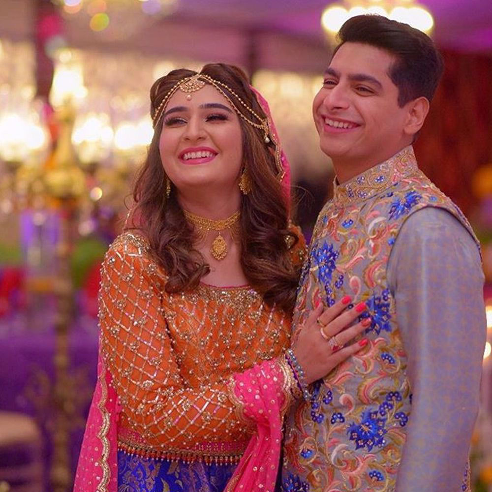 Picture of The beautiful couples wears #nomiansari at their #mehndi in #karachi