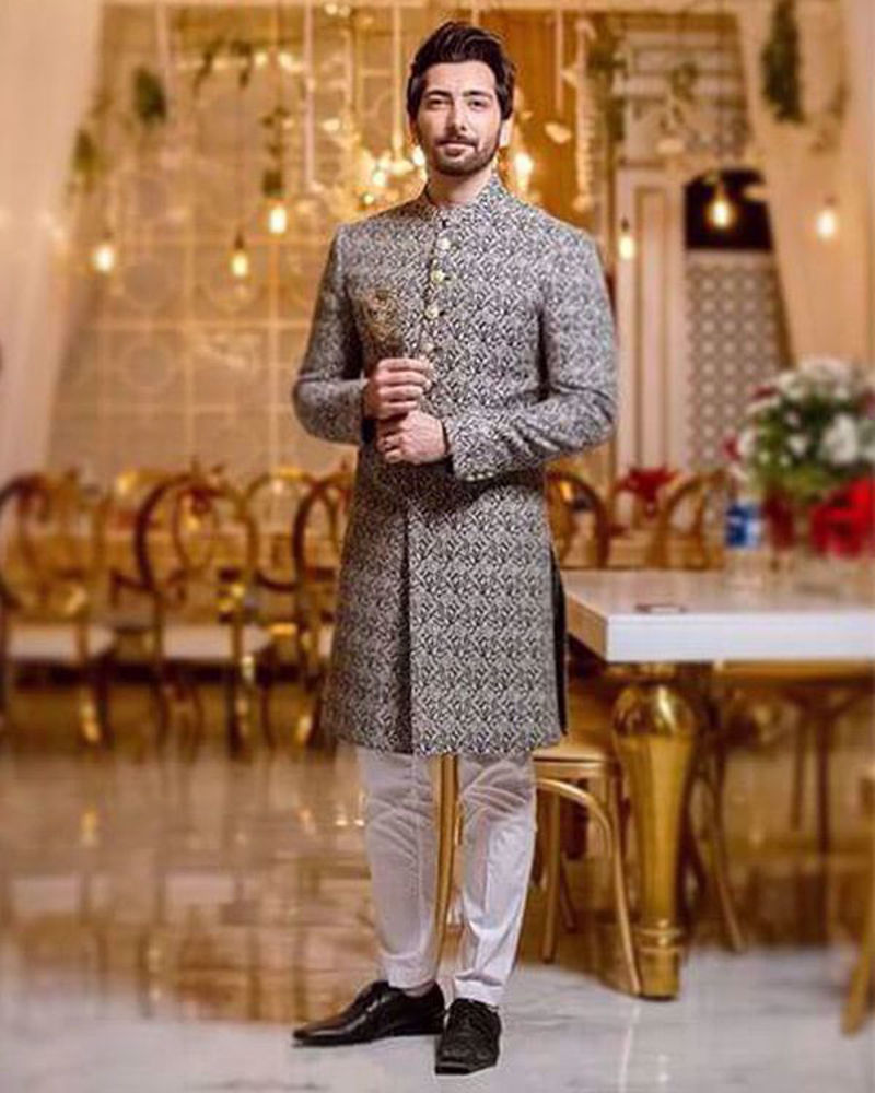 Picture of A timeless combination of black and grey, worn by Ali Khan with perfect panache.