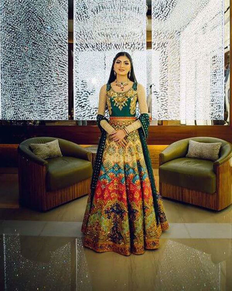 Picture of Ayesha Dawood wears a customized number from our extensive collection of vibrant lehnga cholis!