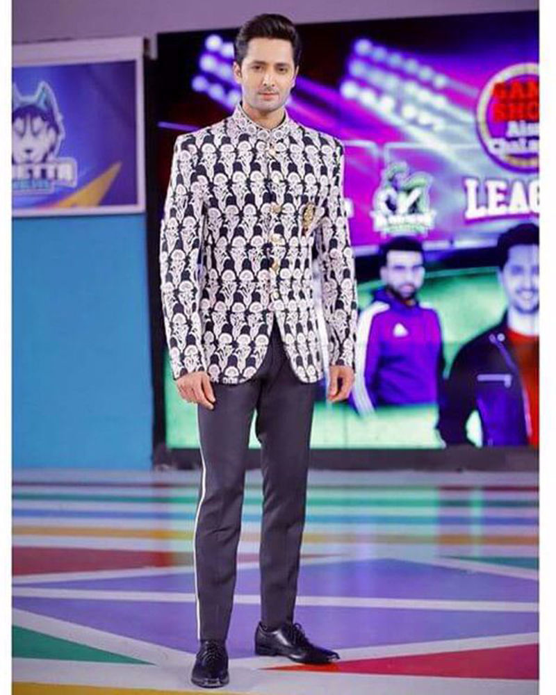 Picture of Danish Taimoor in a Nomi Ansari prince coat with an embellished motif, paired with smartly tailored pants for a festive look