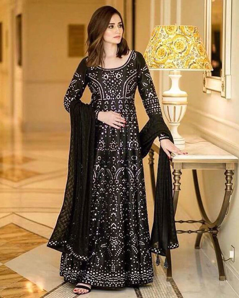 Picture of Sana Javed wears a custom made mirror worked anarkali for her appearance at the award show.