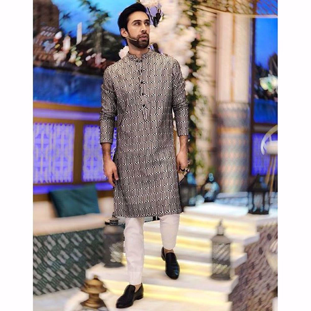 Picture of Ali Rehman Khan spotted in a Nomi ansari signature embroidered kurta paired with straight cotton pants.