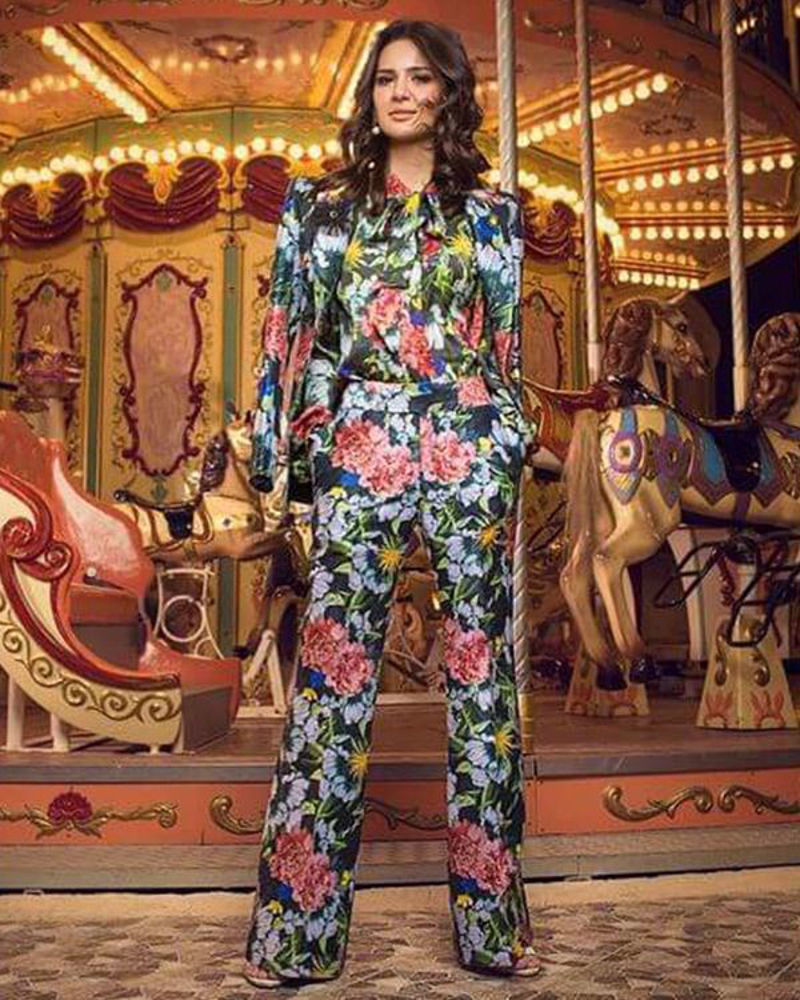 Picture of A dreamy setup with our floral printed separates shining under the stars, worn with style by Madiha Imam