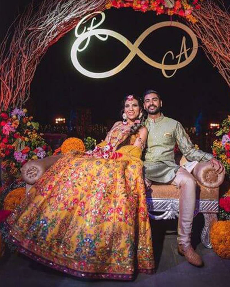 Picture of A grand wedding with the lovely Rani shining away in our vibrant lehnga, with a glamorous choli and its strappy crystal worked sleeve design