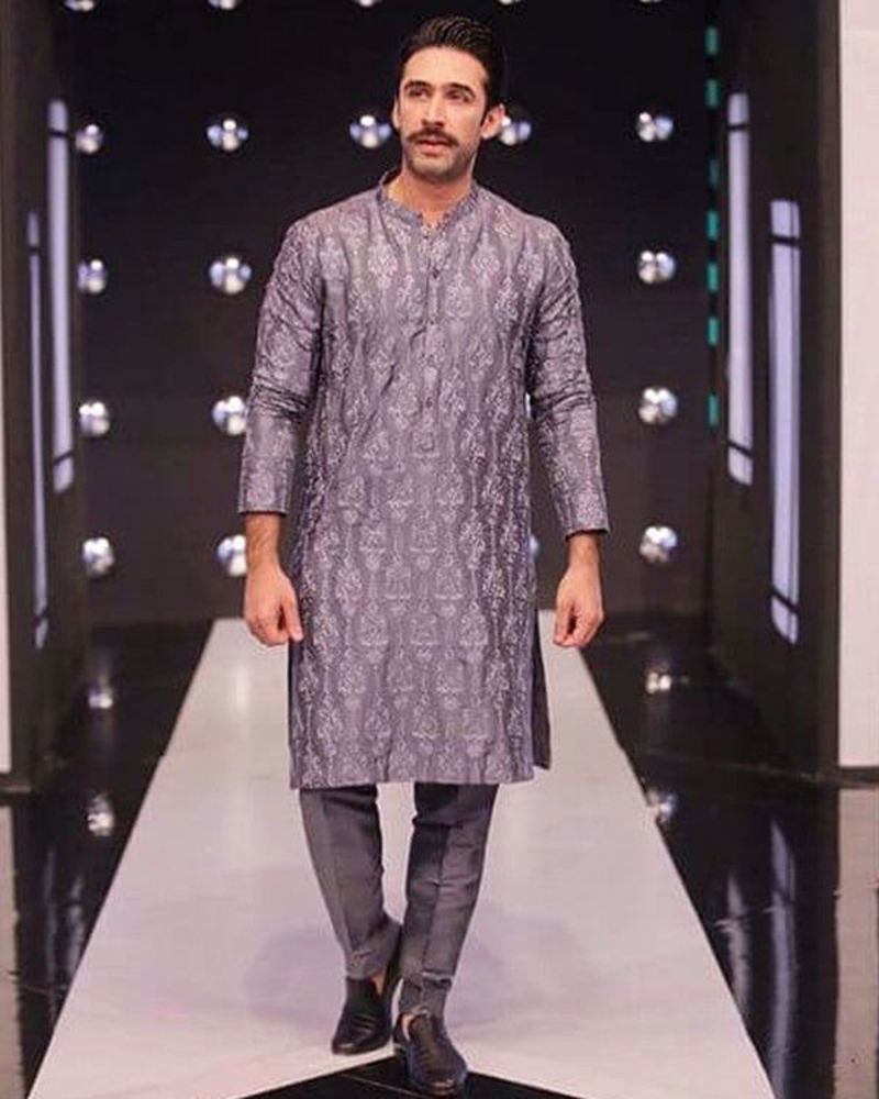 Picture of A smart hue of ash grey with self embroidery, perfect for a sleek statement