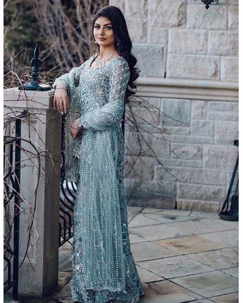 Picture of Ayesha Dawood wears a custom made, Nomi Ansari couture piece