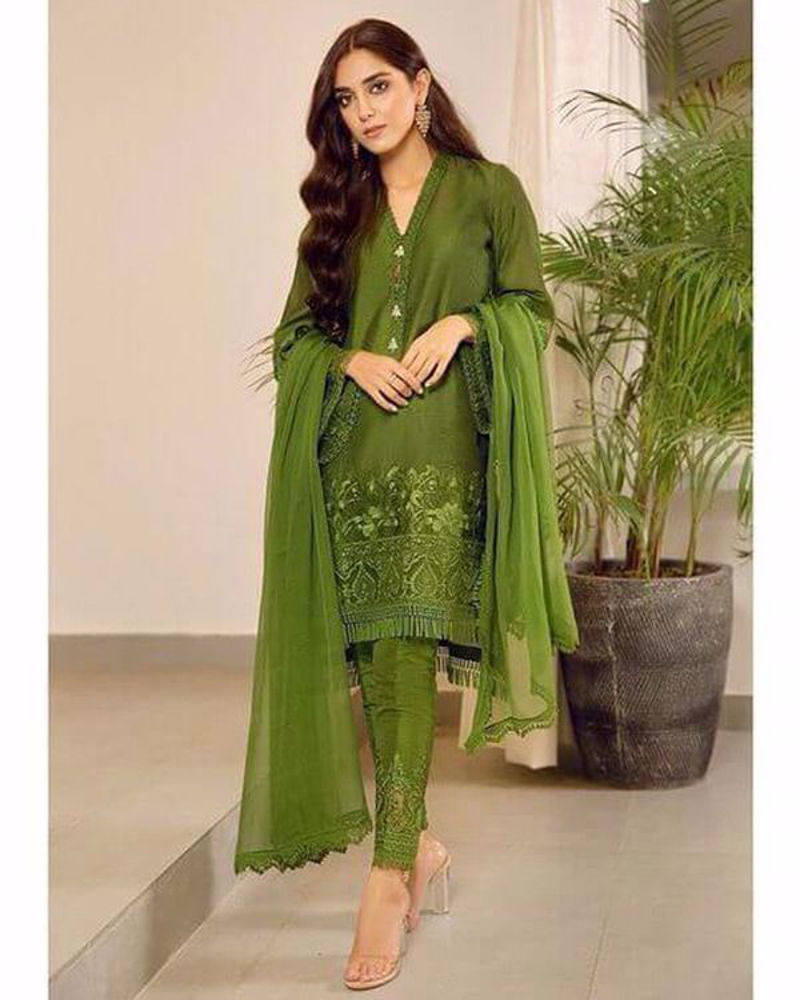 Picture of Maya Ali styles 'Moss' from our luxury pret line, a sleek three piece number in the most beautiful shade of green