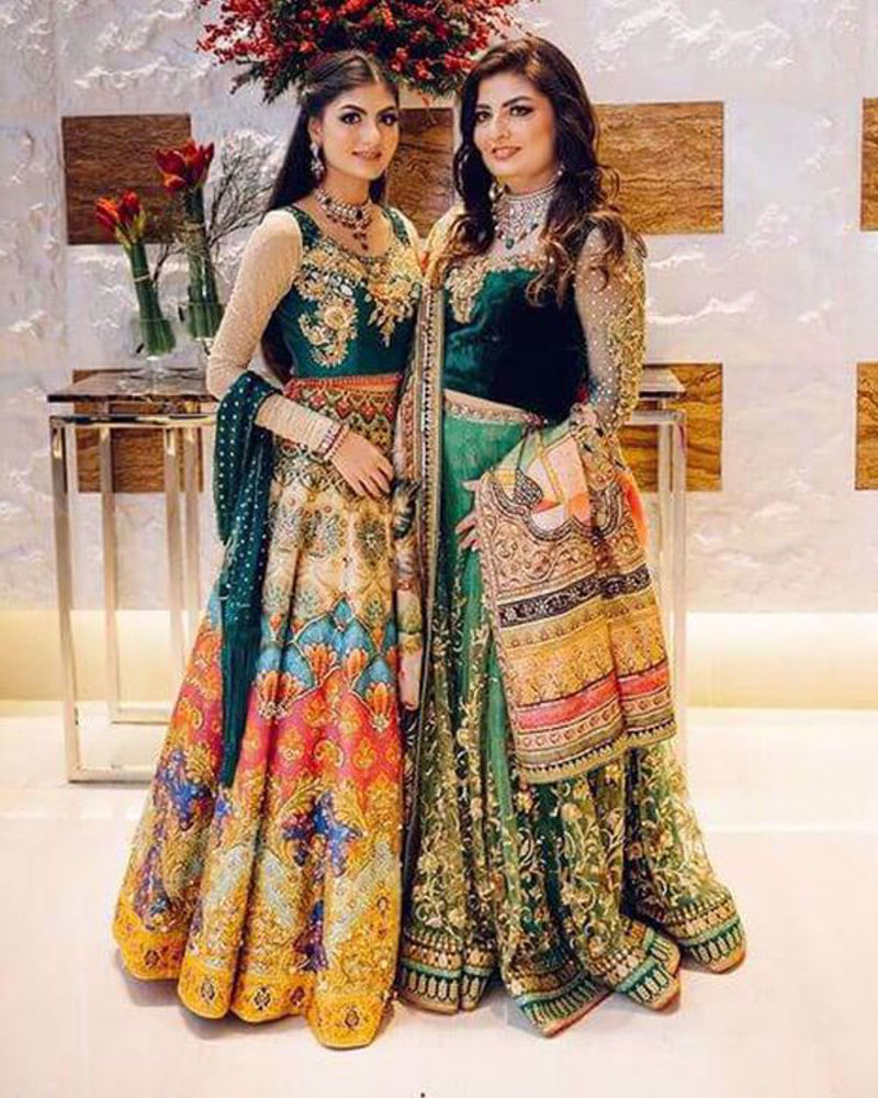 Picture of Mother and daughter duo wearing beautiful coordinating looks, all in vivid shades of green