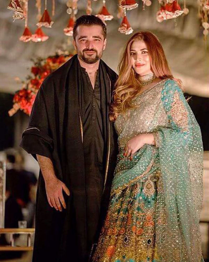 Picture of Naimal Khawar chose our most vibrant, peacock-hued green and blue lehnga choli for her sister's big day